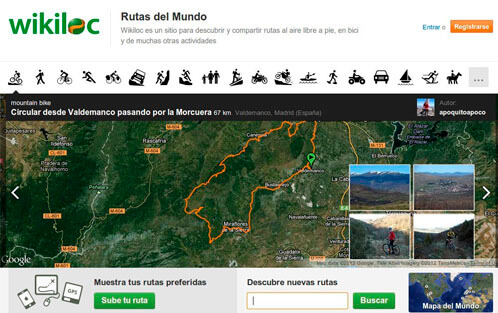 aplicación móvil wikiloc para marcha nórdica